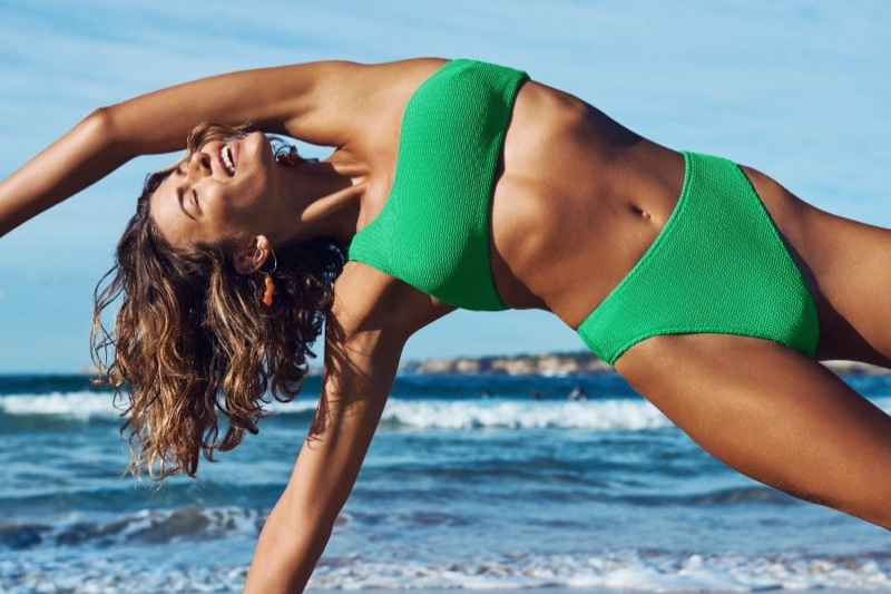 Striking a pose, Georgia Fowler fronts Seafolly summer 2020 campaign.