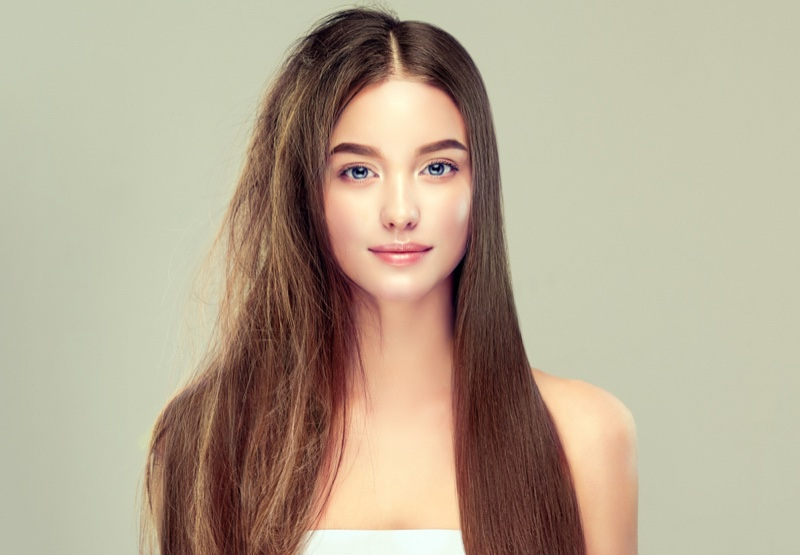 Woman Half Frizzy Healthy Hair Straightened