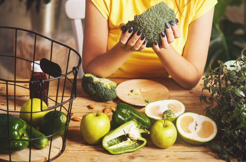 Woman Holding Broccoli Healthy Fruits Vegetables Green Food