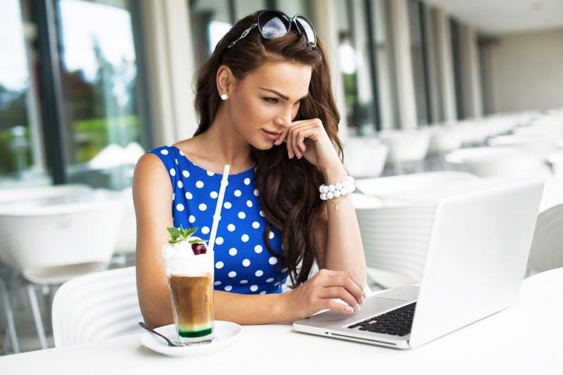 Woman Laptop Blue Polka Dots Drink Outdoors