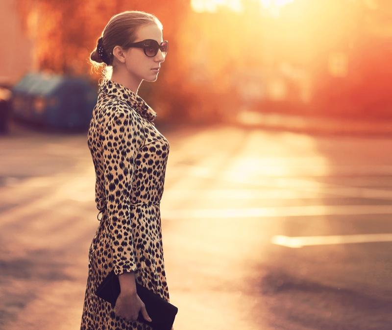 Woman Leopard Print Dress Street