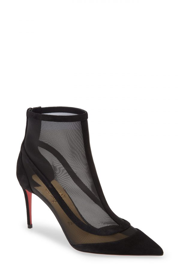 Women's Christian Louboutin Gala Mesh Pointed Toe Bootie, Size 6US - Black