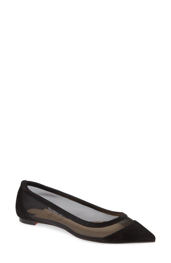 Women's Christian Louboutin Galativi Mesh Pointy Toe Flat, Size 4.5US - Black