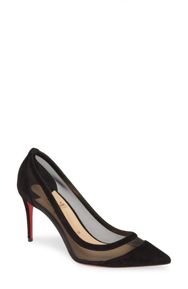 Women's Christian Louboutin Galativi Mesh Pump, Size 5.5US - Black