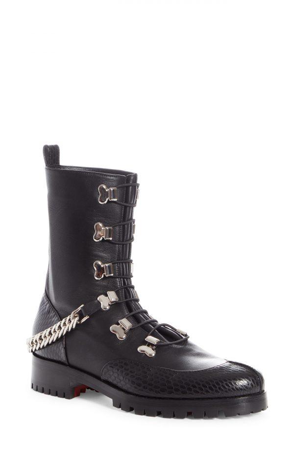 Women's Christian Louboutin Guarda Chain Strap Combat Boot, Size 5US - Black