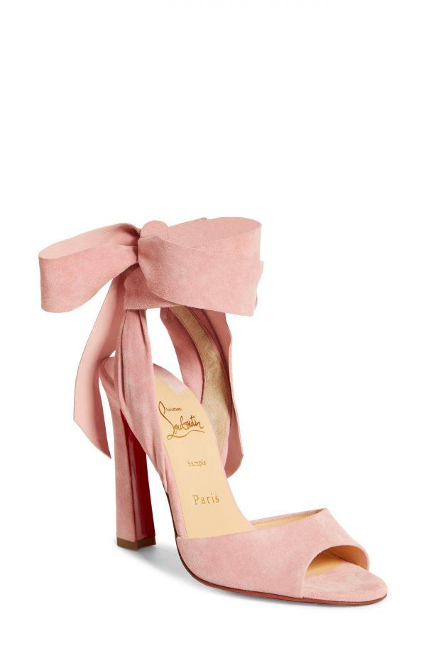 Women's Christian Louboutin Rose Amelie Ankle Wrap Sandal, Size 7US - Pink
