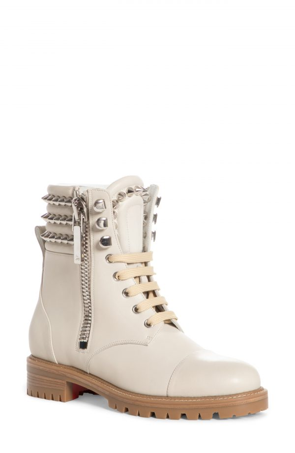 Women's Christian Louboutin Winter Spikes Lace-Up Boot, Size 5US - White