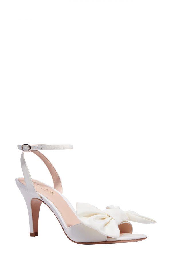 Women's Kate Spade Gloria Bow Ankle Strap Sandal, Size 5 M - White