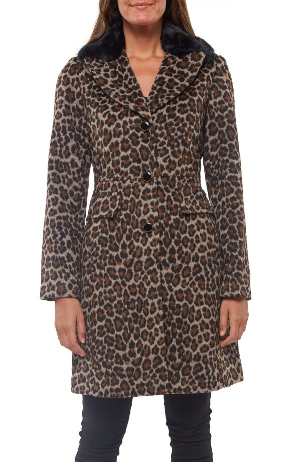 Women's Kate Spade New York Animal Print Coat With Removable Faux Fur Trim, Size X-Small - Beige