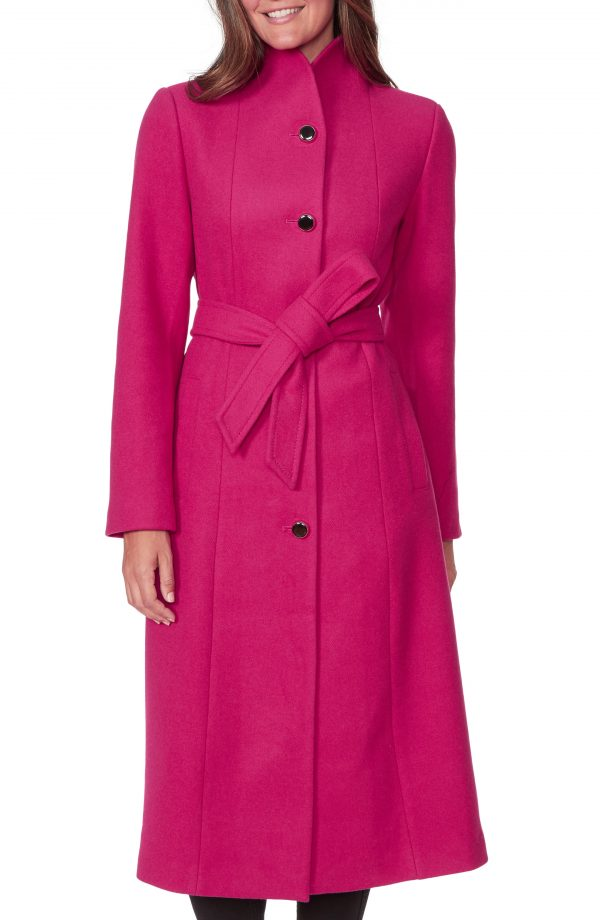 Women's Kate Spade New York Belted Wool Blend Coat, Size Medium - Pink
