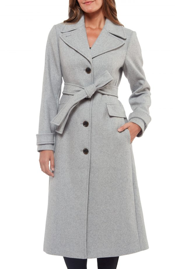 Women's Kate Spade New York Belted Wool Blend Coat, Size X-Small - Grey