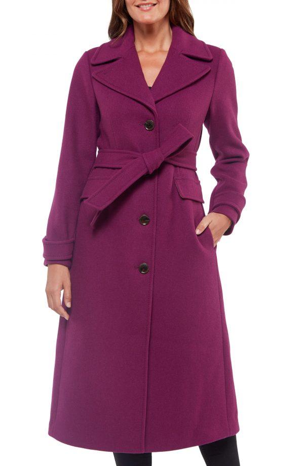Women's Kate Spade New York Belted Wool Blend Coat, Size X-Small - Purple