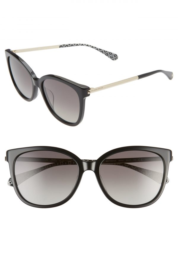 Women's Kate Spade New York Britton 55mm Cat Eye Sunglasses - Black/ Grey