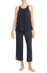 Women's Kate Spade New York Crop Jersey Pajamas, Size X-Small - Black