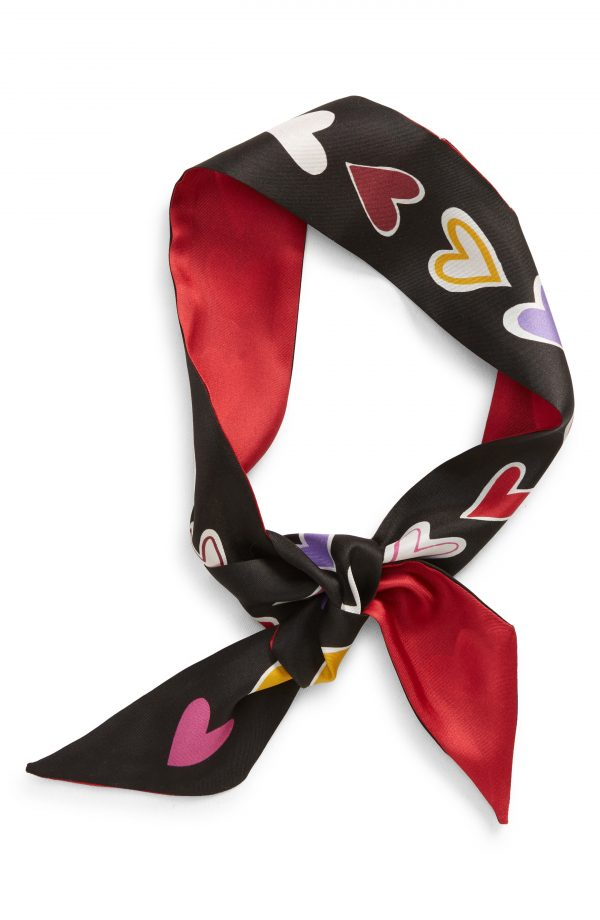 Women's Kate Spade New York Dancing Hearts Reversible Silk Skinny Scarf, Size One Size - Black