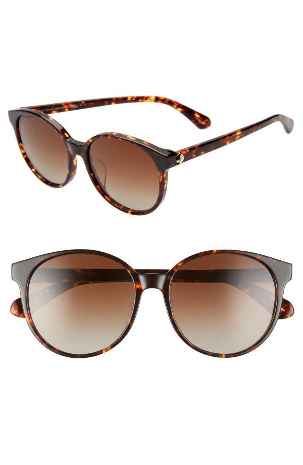 Women's Kate Spade New York Eliza 55mm Polarized Round Sunglasses - Dkhavana/ Brown Grad Polz