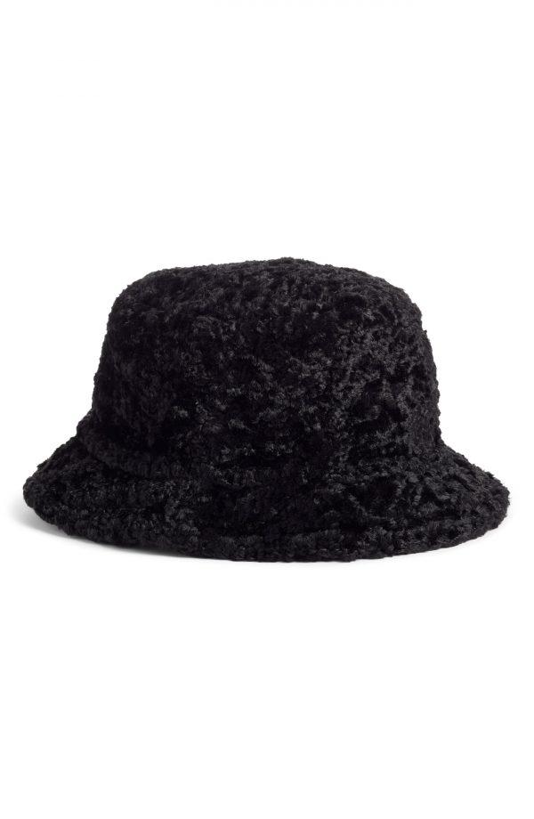 Women's Kate Spade New York Faux Shearling Bucket Hat - Black