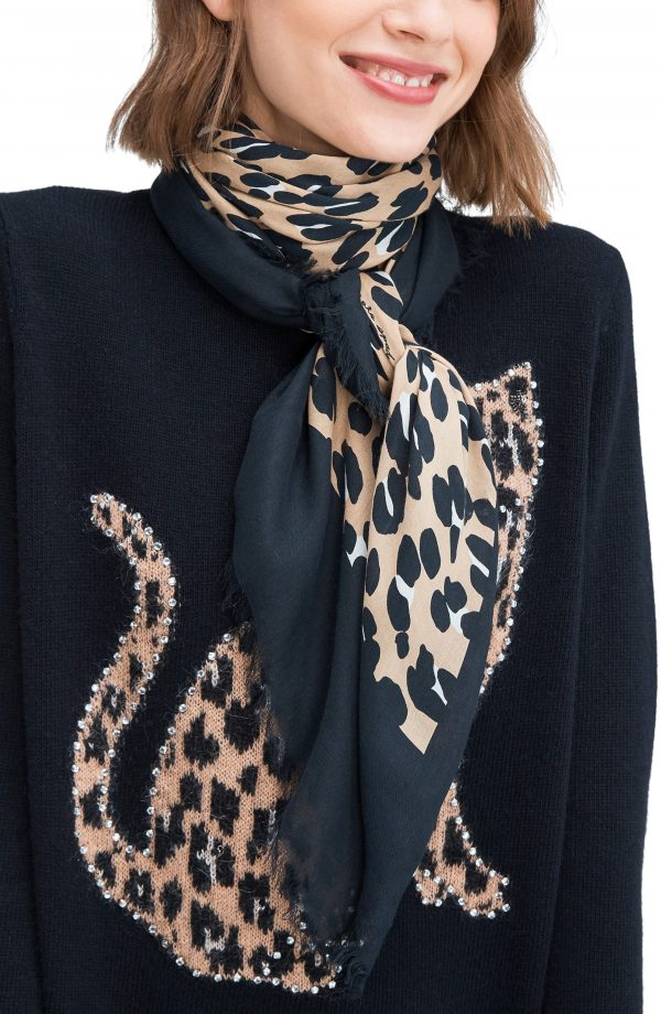 Women's Kate Spade New York Forest Feline Square Scarf, Size One Size - Black