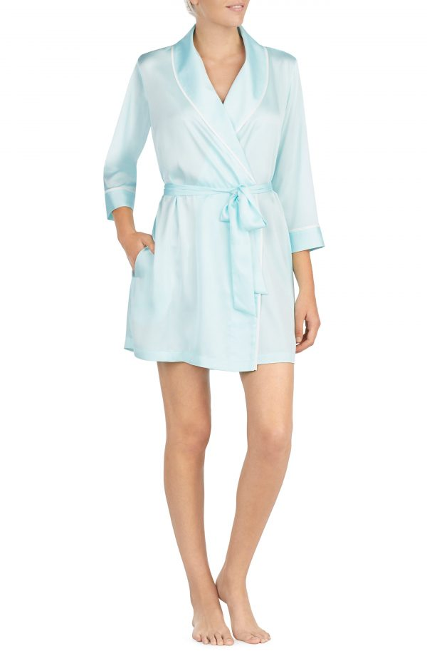 Women's Kate Spade New York Happily Ever After Charmeuse Short Robe, Size Medium - Blue