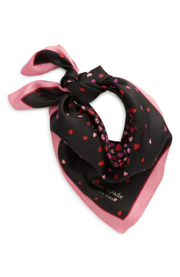 Women's Kate Spade New York Heart Party Silk Bandana, Size One Size - Black