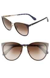 Women's Kate Spade New York Jabreas 57mm Cat Eye Sunglasses - Black/ Brown