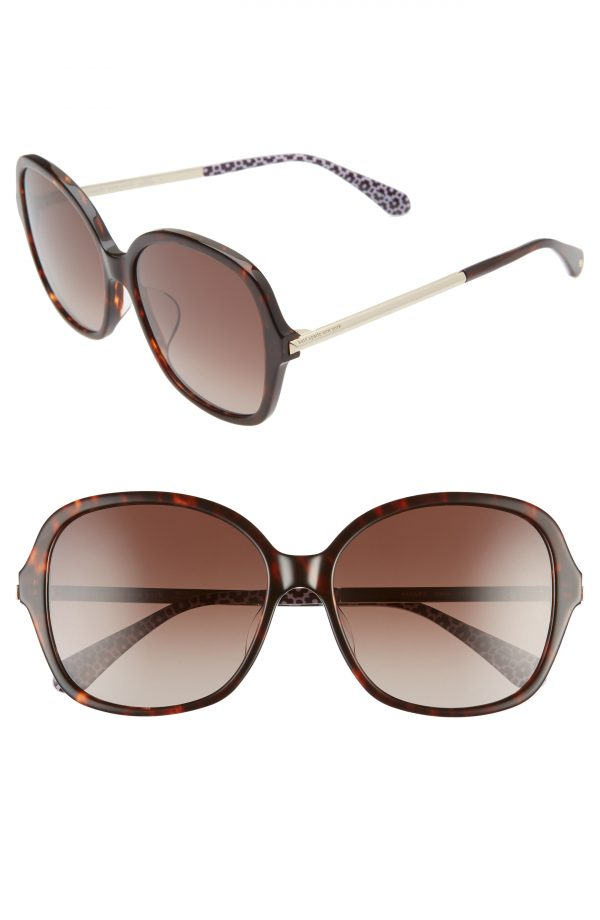 Women's Kate Spade New York Kaiya 57mm Sunglasses - Dark Havana/ Brown