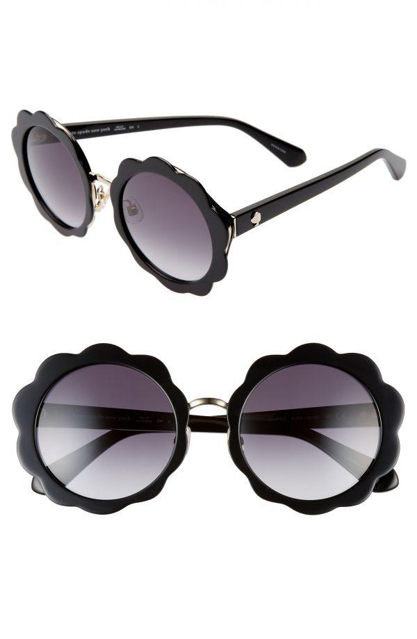Women's Kate Spade New York Karries 52mm Round Sunglasses - Black