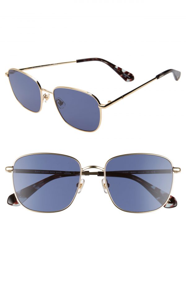 Women's Kate Spade New York Kiylah 53mm Square Sunglasses - Gold/ Blue