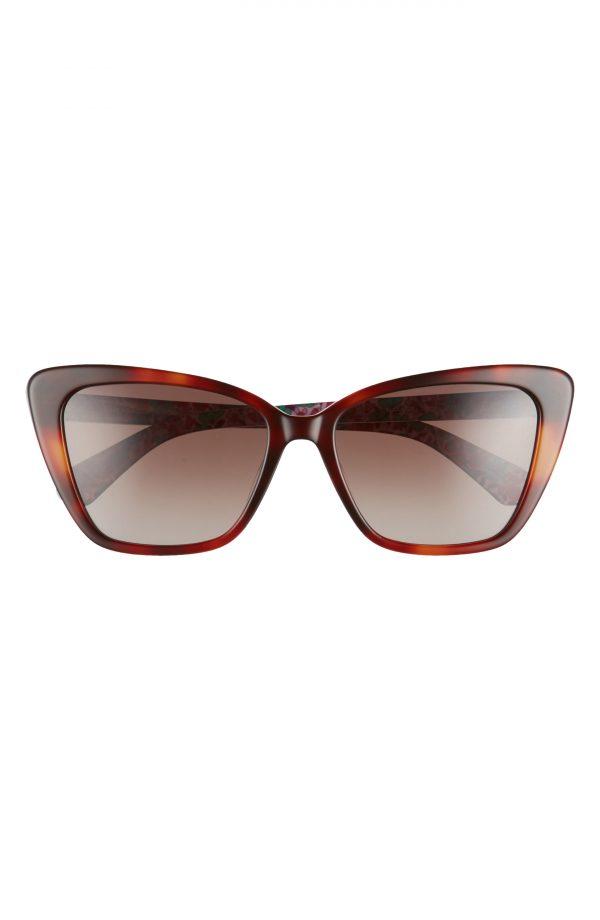 Women's Kate Spade New York Lucca 55mm Gradient Cat Eye Sunglasses - Dark Havana/ Brown Gradient