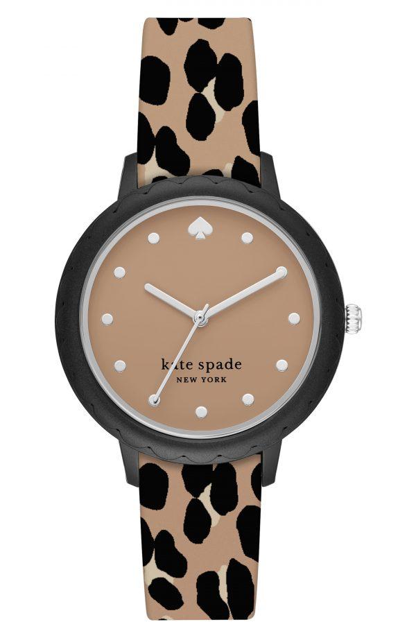 Women's Kate Spade New York Morningside Leopard Silicone Strap Watch, 34mm