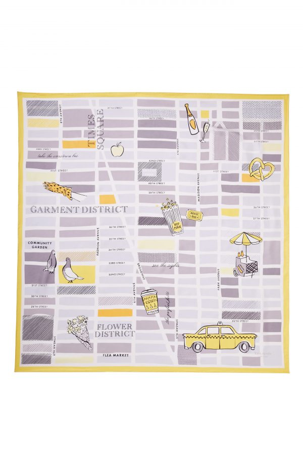 Women's Kate Spade New York Nyc Cab Silk Square Scarf, Size One Size - Ivory