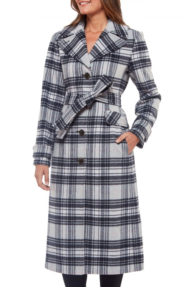 Women's Kate Spade New York Plaid Belted Coat, Size X-Small - Grey
