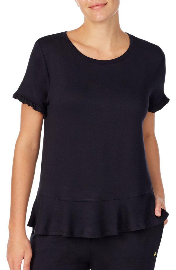 Women's Kate Spade New York Ruffle Hem T-Shirt, Size X-Small - Black