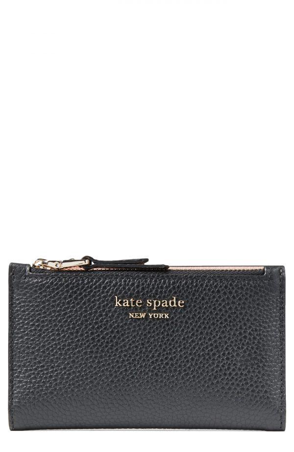 Women's Kate Spade New York Small Roulette Slim Bifold Wallet - Black