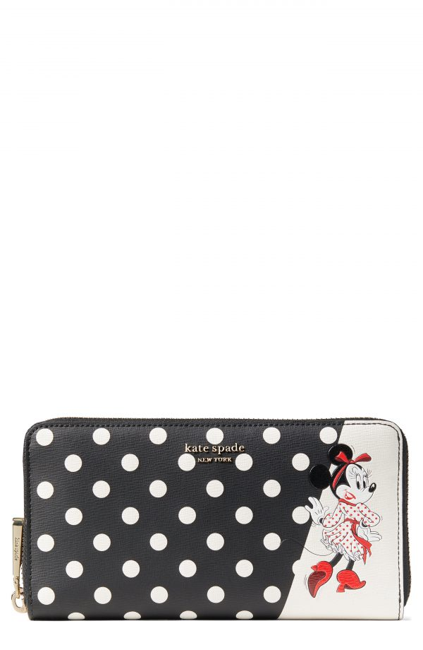 Women's Kate Spade New York X Disney Minnie Mouse Faux Leather Wallet - Black
