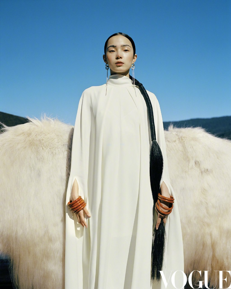 Xiao Wen Ju Poses in Enchanting Styles for Vogue China