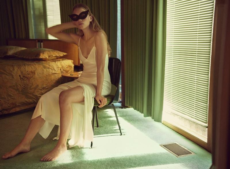 Rebecca Leigh Longendyke poses in Zara silk slip dress.