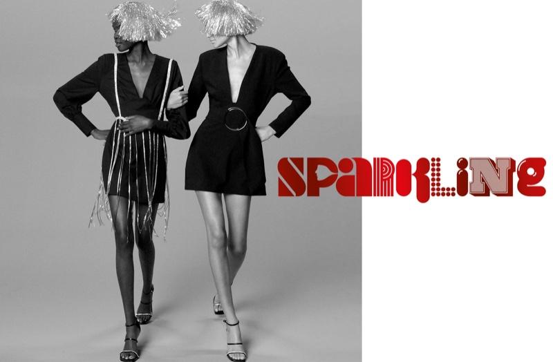 Achenrin Madit and Binx Walton model Zara ballon sleeve dress, Limited Edition dress, jewel top, and sparkly strap heeled sandals.