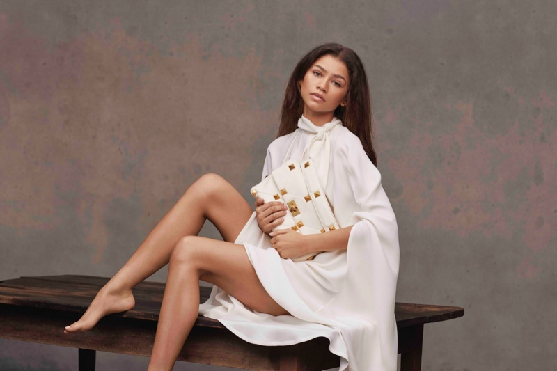 Actress Zendaya poses for her first Valentino campaign.
