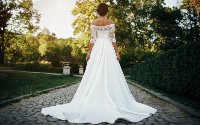 A-Line Wedding Dress Back Off-the-Shoulder Neckline
