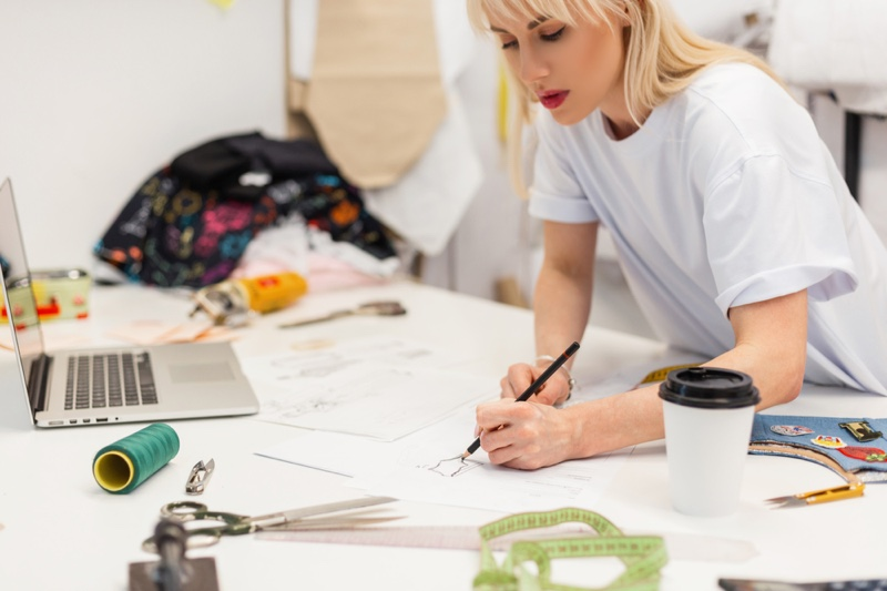 Attractive Woman Designer Sewing Material