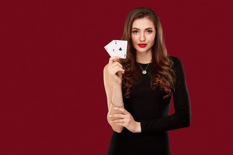Attractive Woman One Sleeve Black Dress Playing Cards