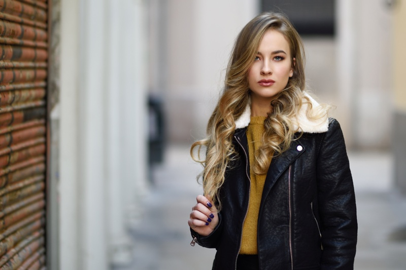 Blonde Model Leather Jacket Cold Weather