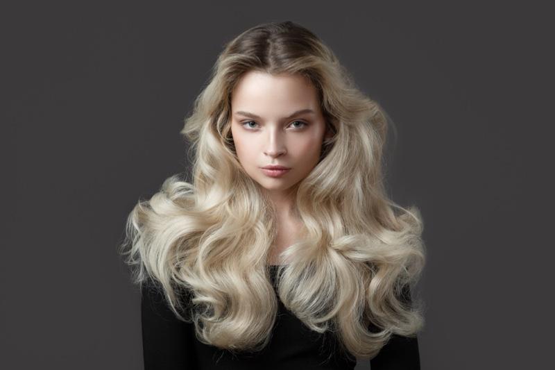 Blonde Model Long Wavy Voluminous Hair