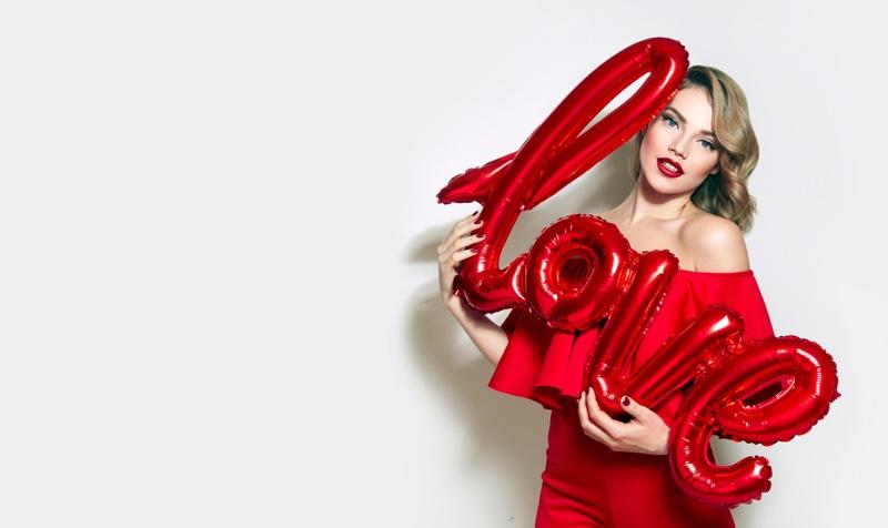 Blonde Model Posing Love Balloon Concept