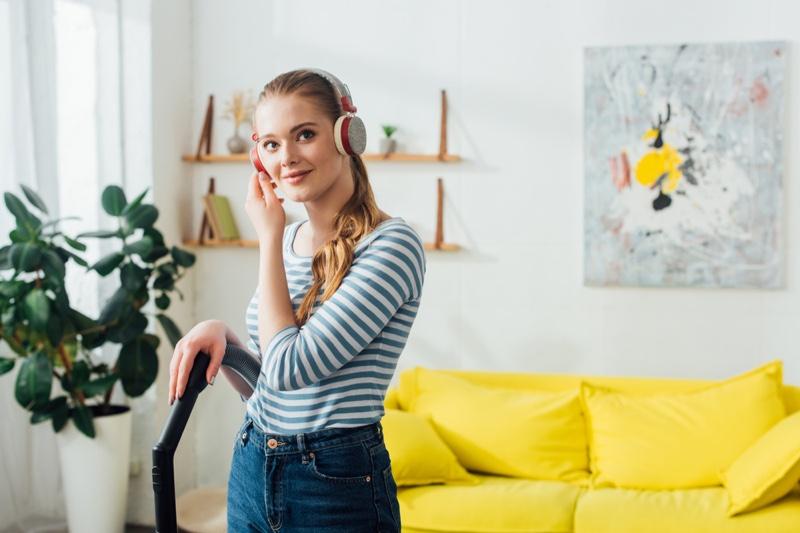 Blonde Woman Vacuuming Earphones House