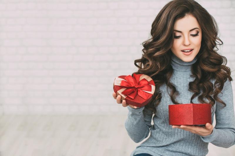 Brunette Woman Wavy Hair Heart Shaped Box Valentine's Day