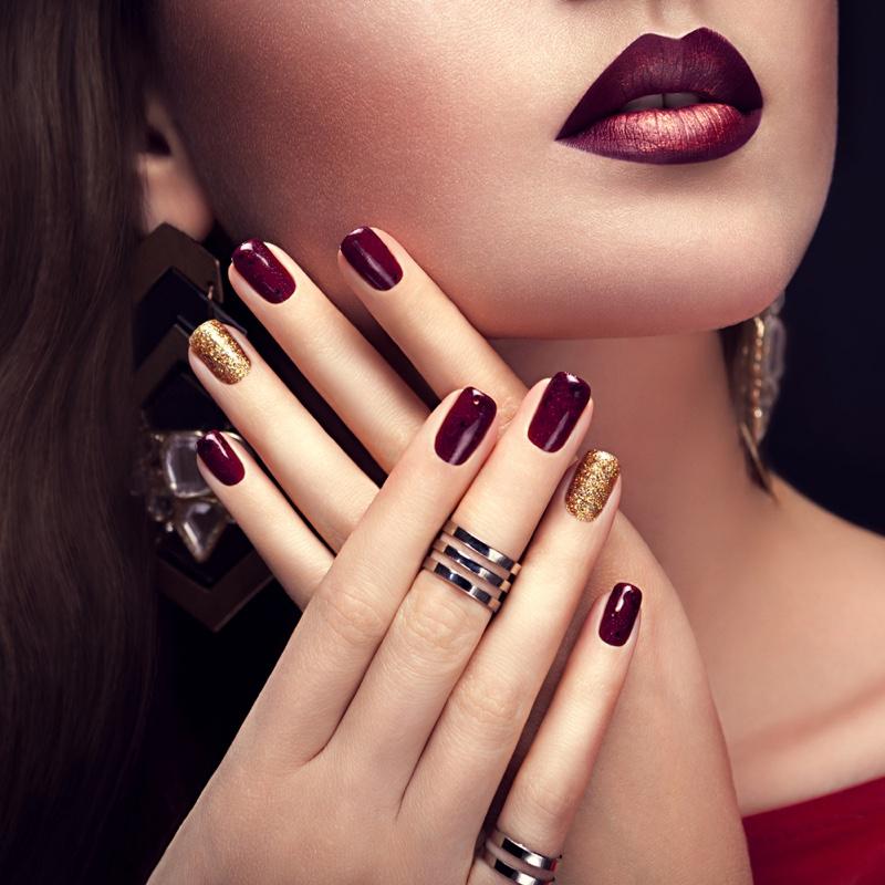 Burgundy Gold Nails Lipstick Beauty