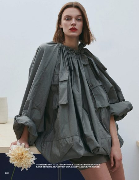 Cara Taylor Models Voluminous Shapes for Vogue China