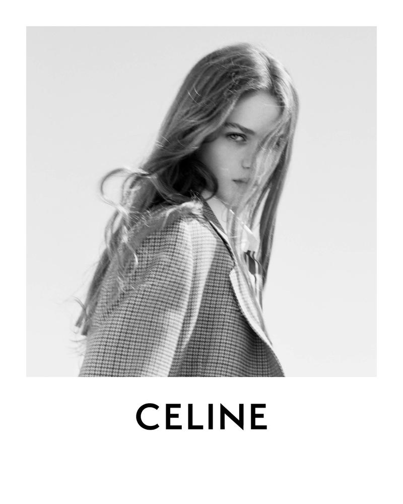Celine features tweed blazer in spring 2021 campaign.